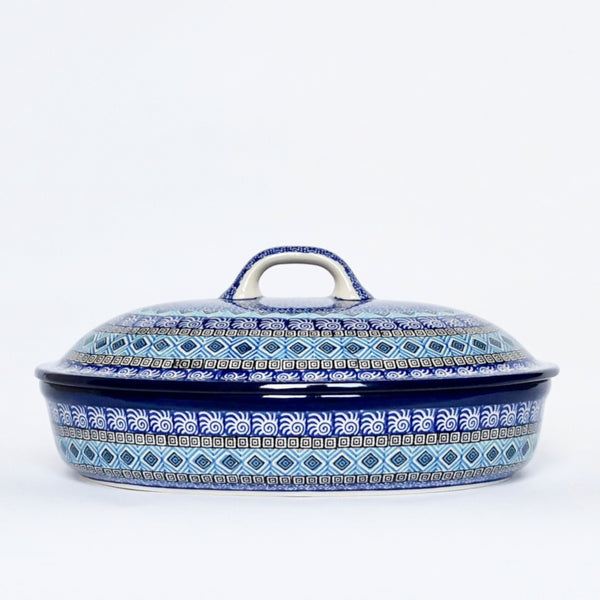 Large Polish Pottery casserole dish with lid