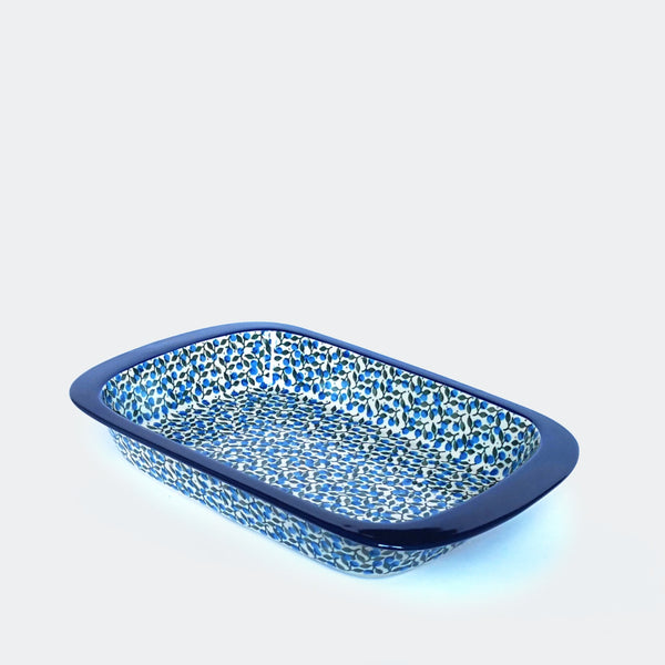 Ceramic Roasting Tin in Blue and Green hand-decorated pattern