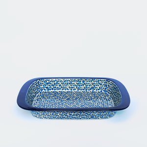 Blue and Green Hand-decorated oven-to-tableware baking dish from Ceramkia Artystyczna