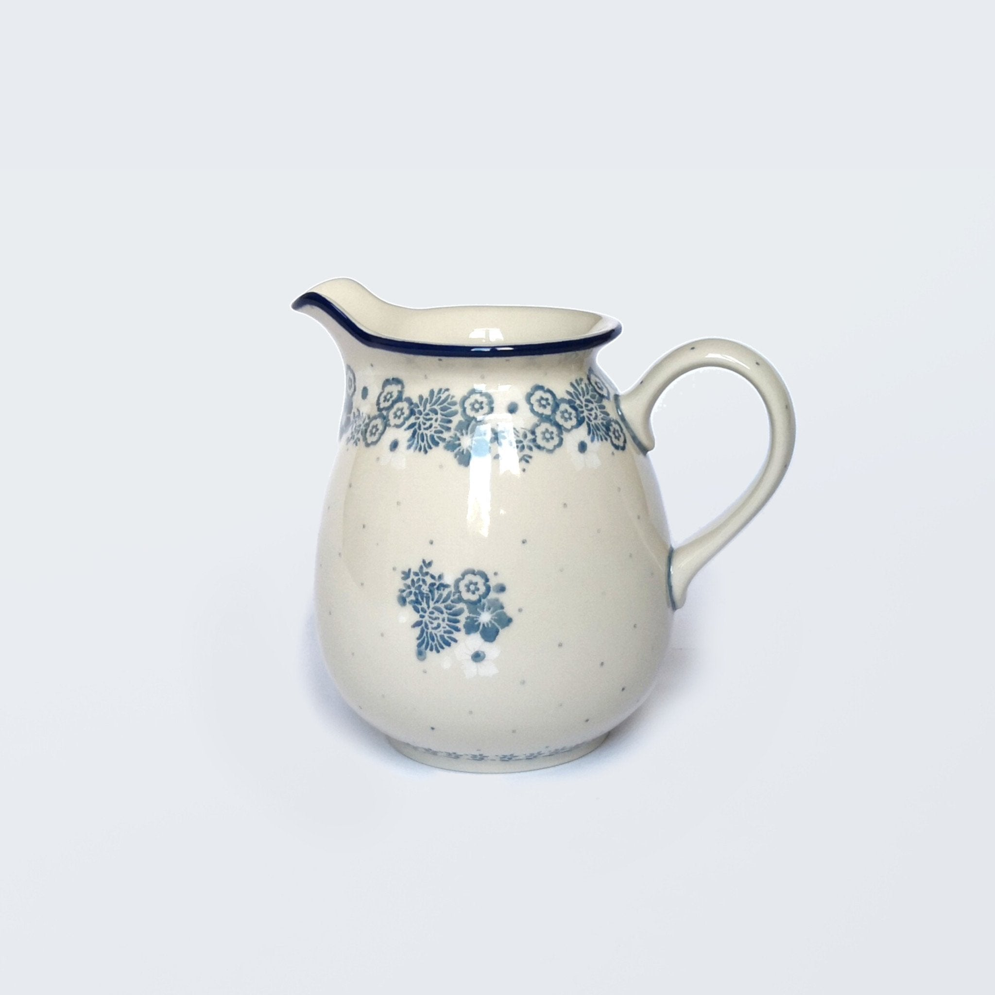 Cream Boleslawiec Stoneware 1 Litre Jug with Pale Blue Handprinted Decoration