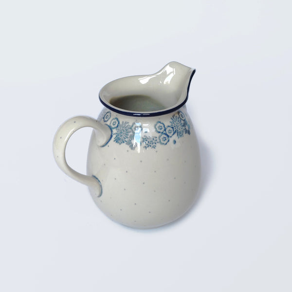 Cream Polish Pottery 1 Litre Jug with Pale Blue Handprinted Decoration
