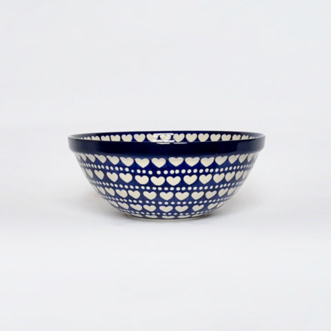 Medium handmade artisan mixing bowl in blue and white hearts pattern by Ceramika Artystyczna