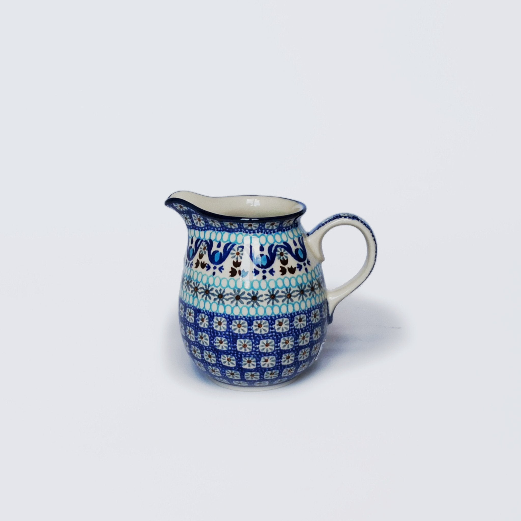 500ml Polish Pottery Milk Jug with colourful traditional handprinted design