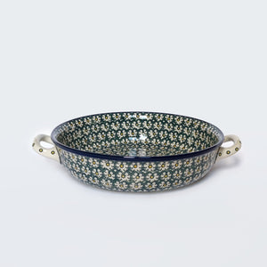 Large Round Baking Dish With Handles in Golden Green