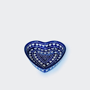 Small Heart Shaped Baking Dish in Hearts and Dots