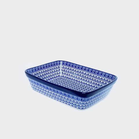 Small Boleslawiec Stoneware Lasagne Dish in Blue and White, Decorated by Hand