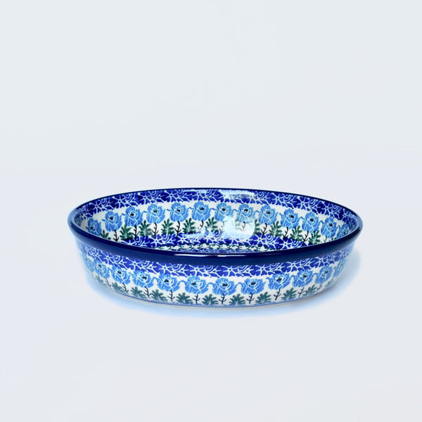 Small Oval Baking Dish in Blue Poppy