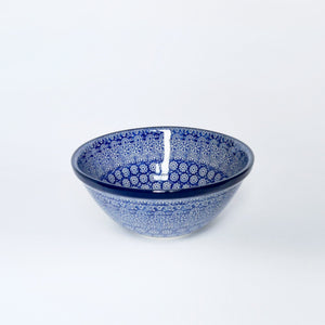 Small Polish Pottery Serving bowl in dark blue moroccan inspired pattern