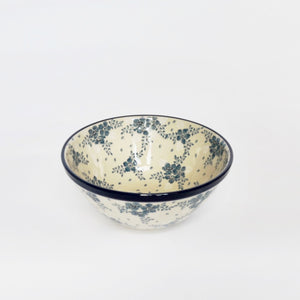 20cm Polish Stoneware Serving Bowl in Blue and White Summer Floral Pattern, made by hand
