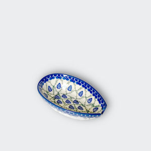 Boleslawiec Stoneware Spoon Rest in Blue and Green, Handmade