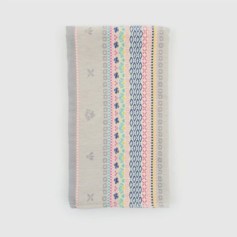Table Runner in premium grey oeko-tex certified cotton with traditional folk pattern embroidery