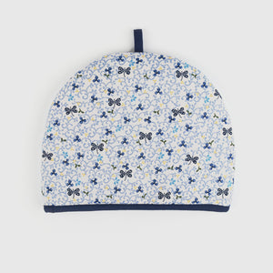 Pale Blue Cotton Large Tea Cosy with embroidered pattern with Dark Blue trim by Artisan Homeware