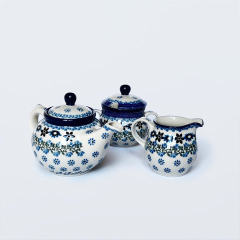 1 person teapot, sugar bowl and milk jug set in Polish Pottery by Ceramika Artystyczna