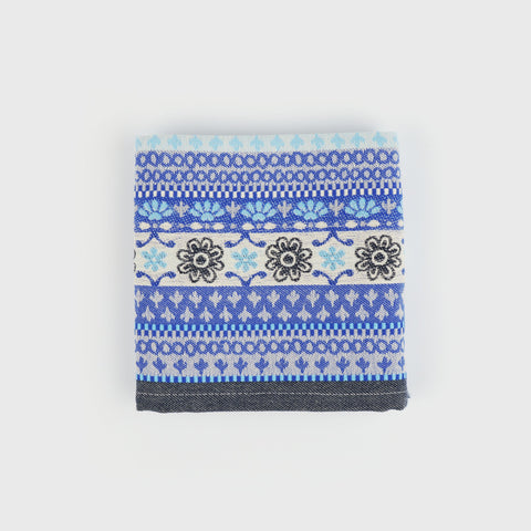 Woven Cotton Tea Towel in Blue Polish Pottery Inspired Folk Pattern
