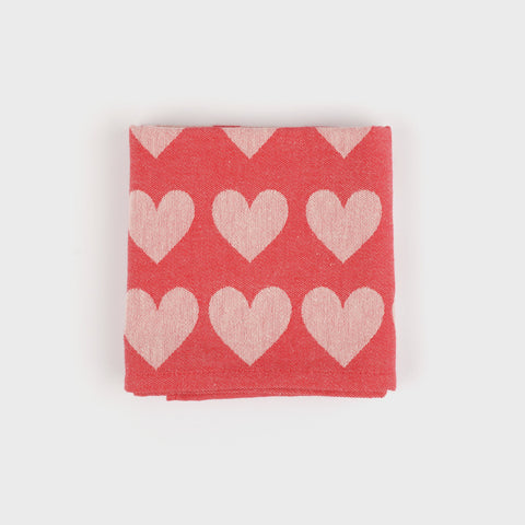 Pure Cotton Tea Towel in Red Hearts