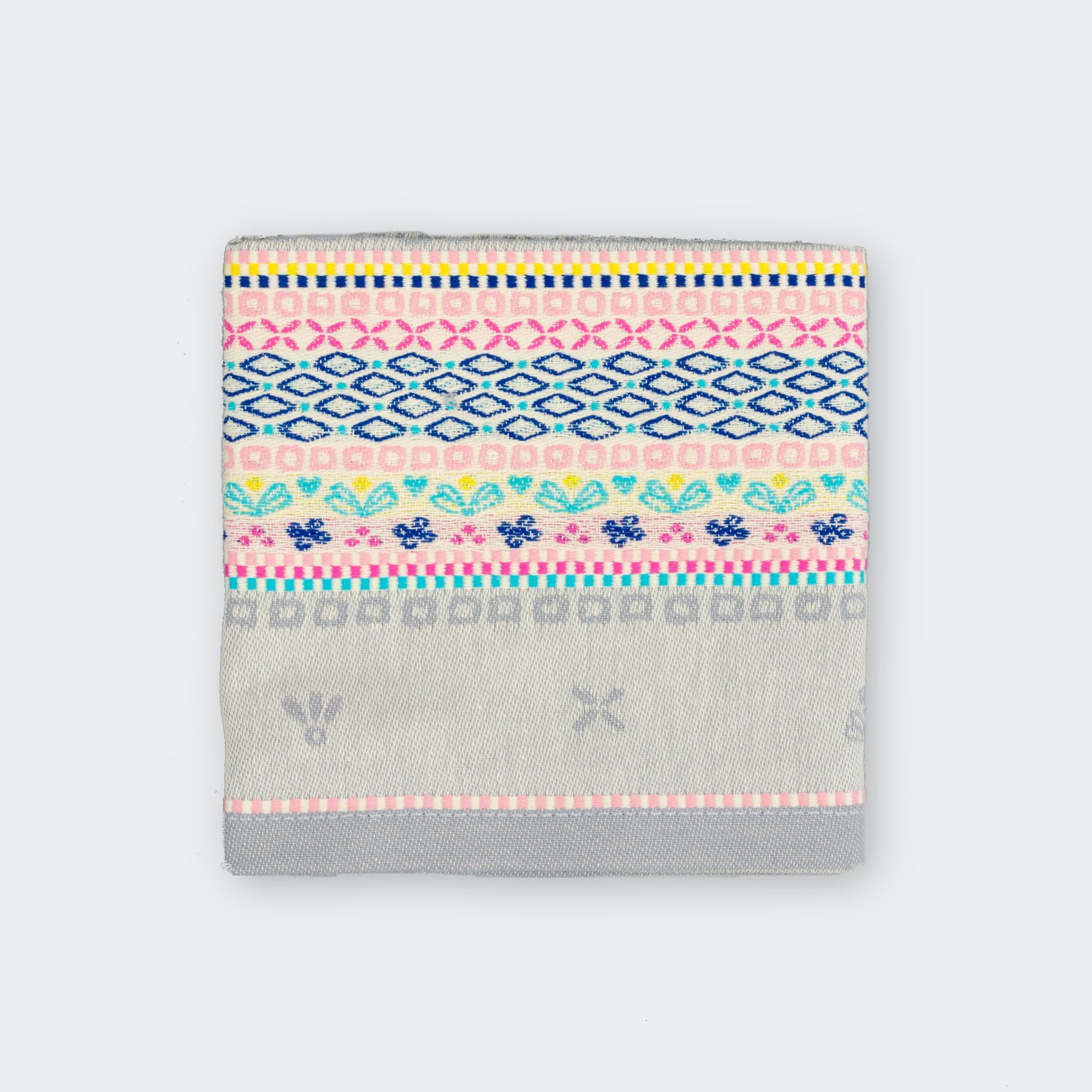 Grey premium woven cotton mutli-coloured patterned teatowel