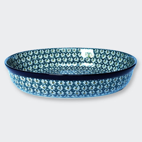 Extra Large High-Sided Oval Casserole Dish by Ceramika Artystyczna in Green Moroccan-inspired pattern