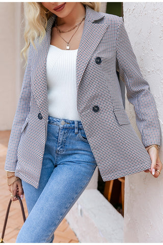 gingham checkered blazer woman's fashion chic elegant boutique clothing outfits fall winter spring summer workwear work attire