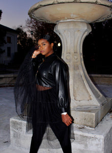 Faux Leather Jacket with Tulle