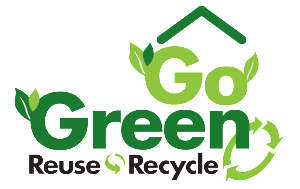 house shape in green with the words go green, reuse, recycle sprouting leaves
