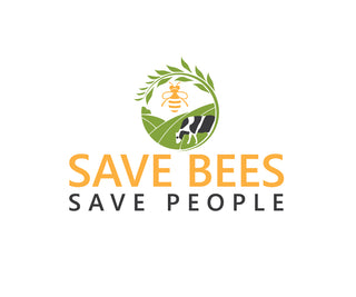 Save bees, save people. image of cow in field and bee above with wheat