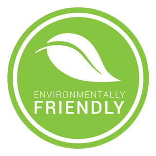 environmentally friendly logo in green with white leaf and text
