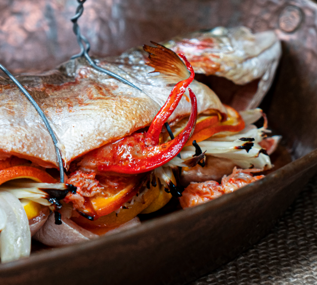 Whole Stuffed Trout with Lobster and Citrus