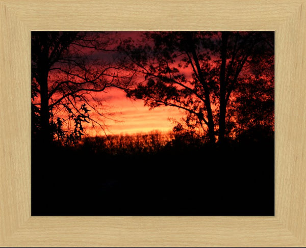 A Red Arkansas Sunset in a 10 x 13 Print Framed in a Blonde Maple Frame - Schmidt Fine Art Gallery
