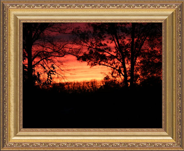 A Red Arkansas Sunset  by Murchison in a 10 x 13 print with frame - Schmidt Fine Art Gallery