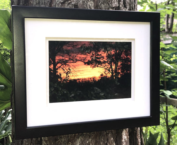 A Red Arkansas Sunset in a 5 x 7 Print with mat and a Black Frame - Schmidt Fine Art Gallery