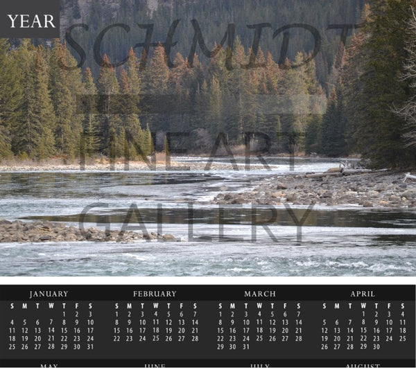 Bow River in Spring Calendar with foam backing - Schmidt Fine Art Gallery