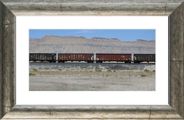 Desert Train in a 10 x 20 Print with mat in a Silver Curved Frame - Schmidt Fine Art Gallery