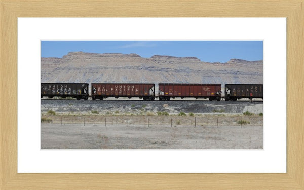 Desert Train in a 10 x 20 Print with mat in a Blonde Maple Frame - Schmidt Fine Art Gallery