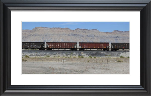Desert Train in a 10 x 20 Print with mat in a Black Rounded Frame - Schmidt Fine Art Gallery