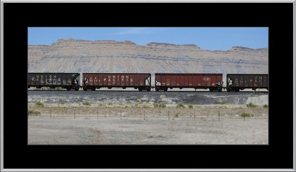 Desert Train in a 10 x 20 Print with mat in a Silver Metal Frame - Schmidt Fine Art Gallery