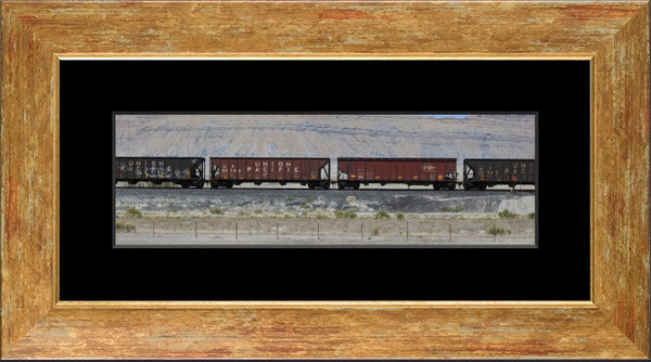 Desert Train in a 5 x 15 Print with mat in a Gold Accent Frame - Schmidt Fine Art Gallery