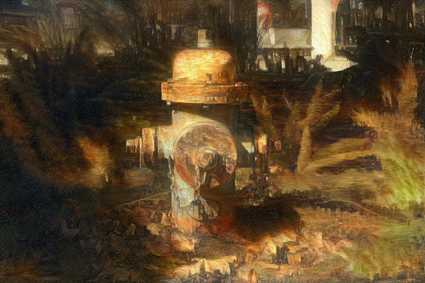 Fire Hydrant on fire by Schmidt and Murchison 16 x 24 Canvas - Schmidt Fine Art Gallery