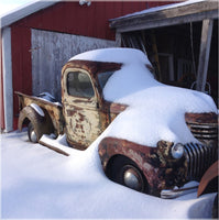 Midwest Snow Covered Truck by Lowe in an 19.5 x 19.5 Acrylic Print with Metal Posts - Schmidt Fine Art Gallery