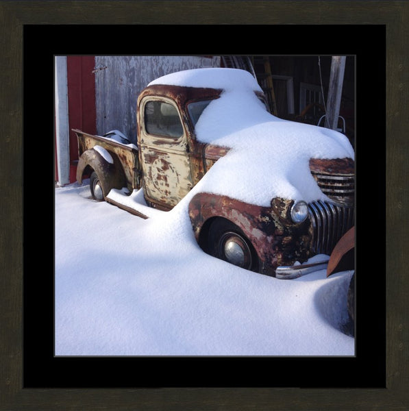 Midwest Snow Covered Truck in a 20 x 20 Square Print in an Espresso Walnut Frame with mat - Schmidt Fine Art Gallery
