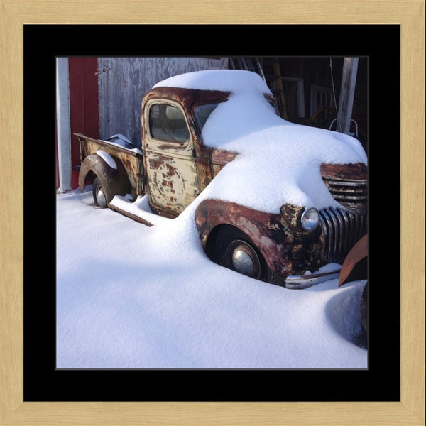 Midwest Snow Covered Truck in a 20 x 20 Square Print in a Blonde Maple Frame with mat - Schmidt Fine Art Gallery