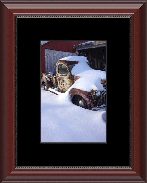 Midwest Snow Covered Truck by Lowe in an 6 x 9 Print with mat and framed in Beaded Mahogany - Schmidt Fine Art Gallery