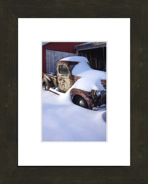 Midwest Snow Covered Truck by Lowe in an 6 x 9 Print with mat and framed in an Espresso Walnut Frame - Schmidt Fine Art Gallery
