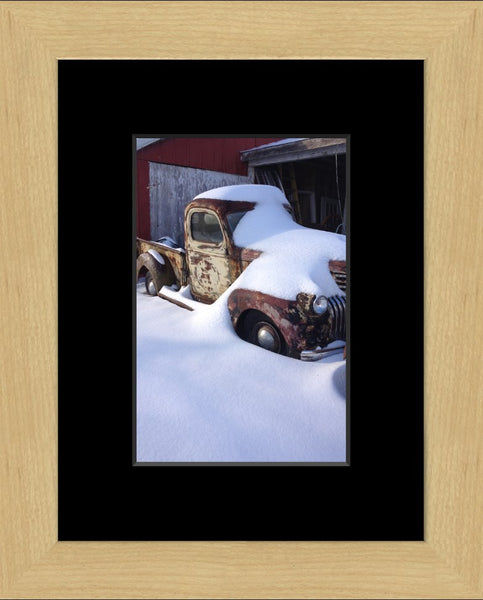Midwest Snow Covered Truck in a 6 x 9 Print in a Blonde Maple Frame with mat - Schmidt Fine Art Gallery