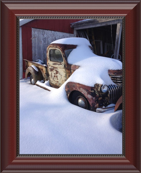 Midwest Snow Covered Truck by Lowe in an 8.5 x 11 Print Framed in a Beaded Mahogany Frame - Schmidt Fine Art Gallery