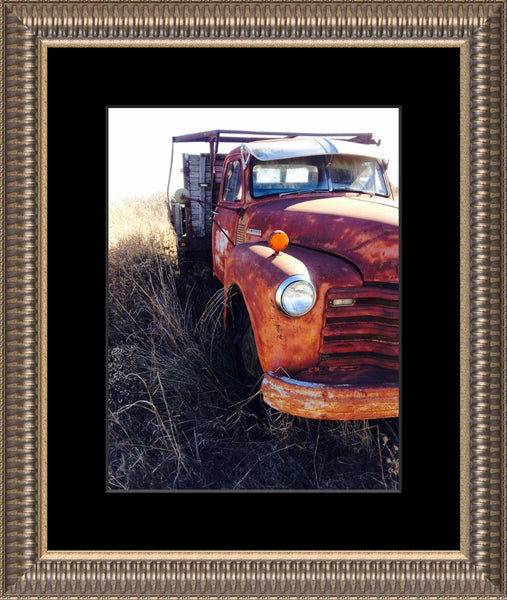 Missouri Rusting Truck by Lowe in a 10 x 13 Print Framed in Ribbed Pewter with Mat - Schmidt Fine Art Gallery