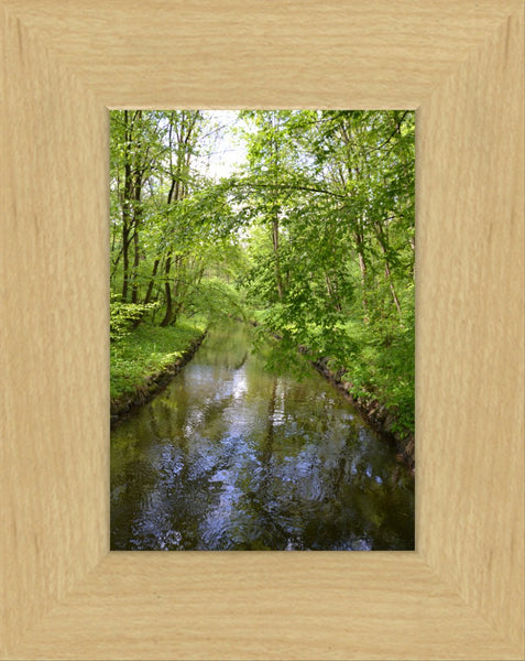 Nymphenburg Palace Garden Canal in a 5 x 7 Print in a Blonde Maple Frame - Schmidt Fine Art Gallery