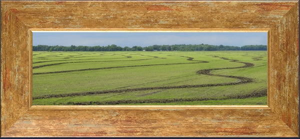 Rice Fields of the Mid West by Lowe in a 5 x 15 print Framed with mat - Schmidt Fine Art Gallery