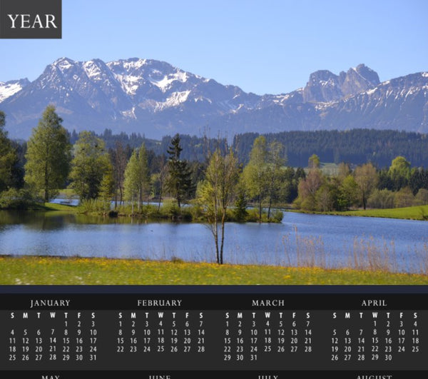 Spring Day Overlooking the German Alps Calendar - Schmidt Fine Art Gallery