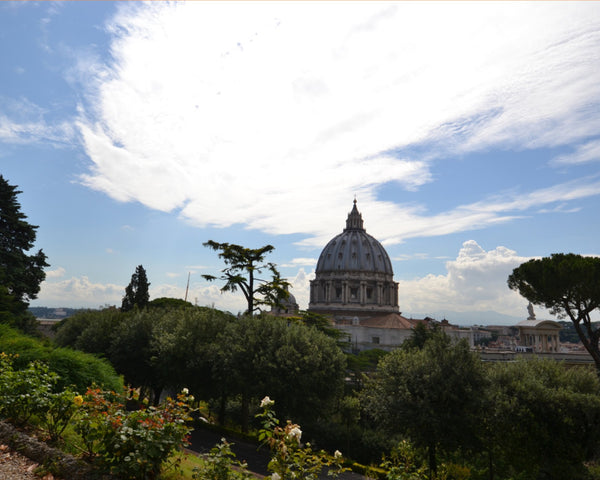 Vatican Gardens with St. Peter's Basilica in a 16 x 20 Canvas - Schmidt Fine Art Gallery