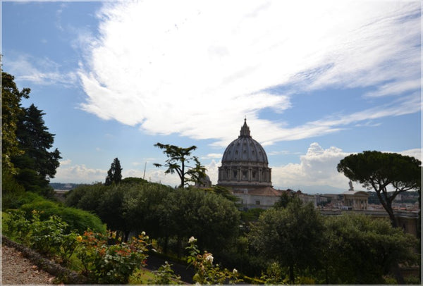Vatican Gardens with St. Peter's Basilica in a 23.5 x 16 Acrylic Print - Schmidt Fine Art Gallery